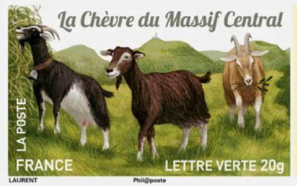 Timbre poste : Les chèvres de nos régions